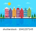 colorful amsterdam city... | Shutterstock .eps vector #1041237145
