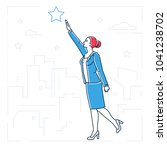 businesswoman reaching out the... | Shutterstock .eps vector #1041238702