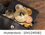 golden bitcoin crypto currency... | Shutterstock . vector #1041240382