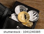 Crypto currency coin in leather ...