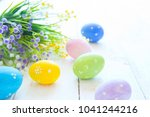 colorful easter eggs and spring ... | Shutterstock . vector #1041244216