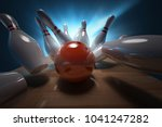 bowling  3d rendering  | Shutterstock . vector #1041247282