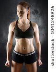 sporty woman with fit and... | Shutterstock . vector #1041248926