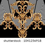 golden baroque ornament | Shutterstock . vector #1041256918