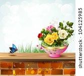 flowerpot with roses | Shutterstock . vector #104125985