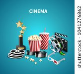 blue cinema background with... | Shutterstock .eps vector #1041276862