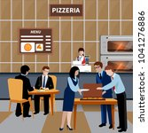 flat business lunch people... | Shutterstock .eps vector #1041276886
