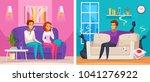 smelly apartment cartoon... | Shutterstock .eps vector #1041276922