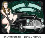 sexy woman with retro car . | Shutterstock .eps vector #1041278908