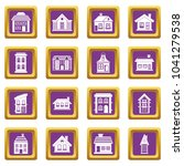 house icons set in purple color ... | Shutterstock . vector #1041279538