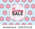 spring sale floral advertizing...   Shutterstock .eps vector #1041291136
