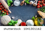 pizza preparation with... | Shutterstock . vector #1041301162