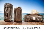 summer brown travel suitcase... | Shutterstock . vector #1041315916