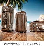 summer brown travel suitcase... | Shutterstock . vector #1041315922