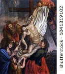 Small photo of VELIKA MLAKA, CROATIA - MARCH 28: Deposition of Christ from the Cross, altarpiece in the Church of the Saint Barbara in Velika Mlaka, Croatia on March 28, 2017.