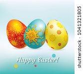 blue red yellow easter eggs on... | Shutterstock .eps vector #1041321805