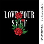 typography slogan with roses... | Shutterstock .eps vector #1041322378