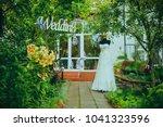 wedding dress and decor | Shutterstock . vector #1041323596