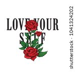 typography slogan with roses... | Shutterstock .eps vector #1041324202