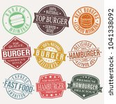 burger stamp quality seal... | Shutterstock .eps vector #1041338092