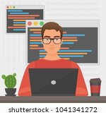 man programmer is working with... | Shutterstock .eps vector #1041341272