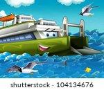 The big, happy, cartoon ferryboat - stock photo
