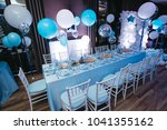 blue white and silver balloons... | Shutterstock . vector #1041355162