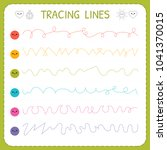 tracing lines. basic writing.... | Shutterstock .eps vector #1041370015