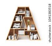 bookshelves 3d font. alphabet... | Shutterstock . vector #1041383518