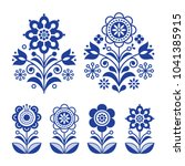 scandinavian flowers design ... | Shutterstock .eps vector #1041385915