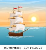 a ship with belly sails sails... | Shutterstock .eps vector #1041410326