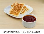 cracker and chilli paste on... | Shutterstock . vector #1041416305