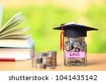 graduation hat on the glass... | Shutterstock . vector #1041435142