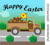 easter bunny on a truck | Shutterstock .eps vector #1041441112