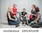 a group of people learning to... | Shutterstock . vector #1041441658