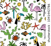seamless pattern with summer... | Shutterstock .eps vector #1041442786