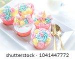 unicorn fondant cupcakes... | Shutterstock . vector #1041447772