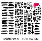 big set of black paint  ink... | Shutterstock .eps vector #1041452632