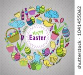 colorful vector of easter... | Shutterstock .eps vector #1041455062