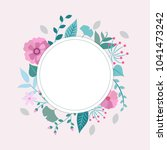 spring flowers and leaves frame ... | Shutterstock . vector #1041473242