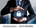 cybersecurity and information... | Shutterstock . vector #1041486886