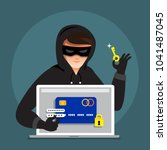 Flat design concept hacker activity cyber thief on internet device. Vector illustrate. - stock vector