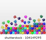 colorful jigsaw puzzle | Shutterstock .eps vector #104149295