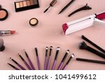 professional makeup brushes and ... | Shutterstock . vector #1041499612