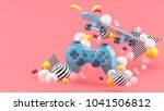 blue gamepad and skateboard... | Shutterstock . vector #1041506812
