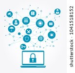 network vulnerability  locked... | Shutterstock .eps vector #1041518152