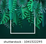 tropical leaves and plants.... | Shutterstock .eps vector #1041522295