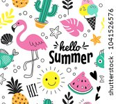 hello summer pattern. vector... | Shutterstock .eps vector #1041526576