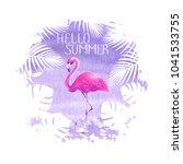 hello summer lettering pink... | Shutterstock . vector #1041533755
