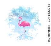 hello summer lettering pink... | Shutterstock . vector #1041533758